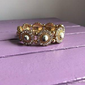 Gold, rhinestone and marble beaded bracelet!
